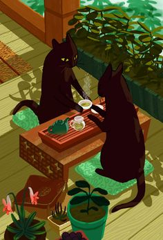 Tea Cats | Illustration by Francesca Buchko - her blog: http://francescabuchko.com/blog/2013/10/9/tea-cats