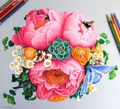 Flowers Colored Pencil Drawing~ Morgan Davidson~