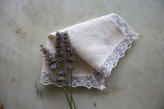 Hand woven linen handkerchief crochet by PitzicatVintage on Etsy, $12.00