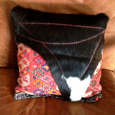 Hair on Cowhide Pillow with Mayan Textiles by GretelStoudt on Etsy