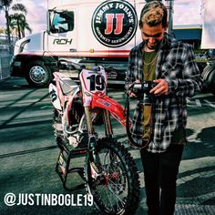 Super Cross star Justin Bogle doing his thing at Anaheim 1. Repping GLD solid gold and apparel