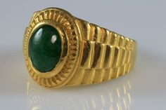 Men's Designer 24K Gold Natural Green Jadeite Jade Ring | eBay