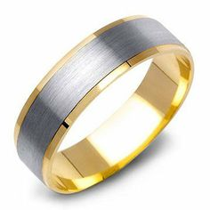 14K Gold Two-Tone Plain Mens Contemporary Wedding Band Ring Perry Olsen. $554.00