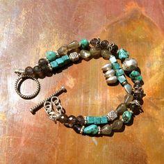 Turquoise Gemstone Bracelet - Double Strand Bracelet - Silver, Iolite, Labradorite, Turquoise Bracelet. $48.00, via Etsy.