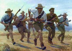 Graham Turner muestra a los miembros de un regimiento de caballería ligera, sirviendo como infantería, y se muestra la carga hacia las trincheras enemigas. Más en www.elgrancapitan.org/foro
