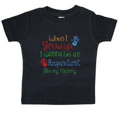 Inktastic Acupuncturist Like Mommy Baby T-Shirt Child's Kids Gift Acupuncturist's Daughter Childs My Cute Occupation Apparel Job Future Handprints T-shirt Infant Tees Shower Clothing Hws, Boy's, Size: 6 Months, Black