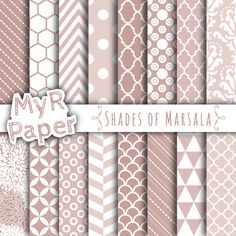 """Digital Paper: """"Shades of Marsala"""" with Marsala & White, 40% OFF, pastels, Chevron, Hexagons, Damask, Stripes, Polka Dots and more..."""