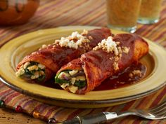 National Soyfood Month - Recipe #4 - Tofu & Vegetable Enchiladas with Red Chili Sauce