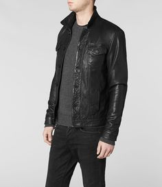 Mens Brading Leather Jacket (Black) | ALLSAINTS.com