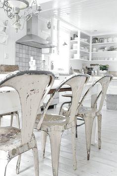 Beautiful Tolix chairs w/white paint  xo--FleaingFrance