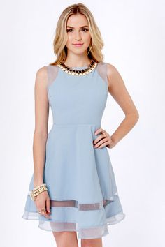 Pretty Blue Dress - Sleeveless Dress - $46.00