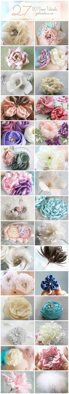 27 DIY Wedding Flower Tutorials and Patterns in Fabric, Paper, and Feather diyweddings wedding fabricflower paperflowers featherflowers diy Felt Flowers, Diy Flowers, Fabric Flowers, Paper Flowers, Ribbon Flower, Material Flowers, Ribbon Crafts, Flower Crafts, Fabric Crafts