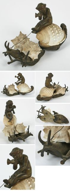 Victorian Shell Art Snail Carriage w/ Baby