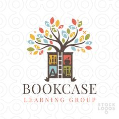 Logo For Sale A beautiful tree is growing from the centre of the bookshelf. A ladder is created within the white space to create the impression of a rolling ladder that is used to access the books and information.