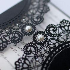 100 x Vintage Style Lasercut Black Lace by AngelfinsStationery
