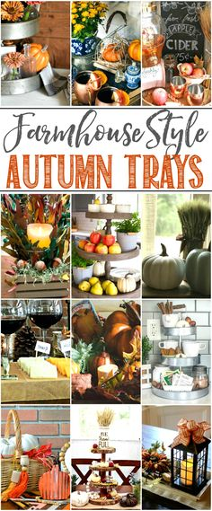 Beautiful collection of farmhouse fall tray ideas.