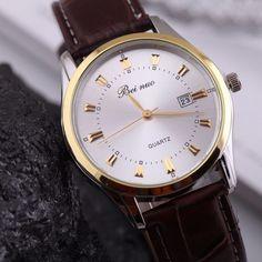 Elegantní pánské hodinky s hnědým koženým páskem a bílým ciferníkem +  POŠTOVNÉ ZDARMA Na tento produkt d873378be8