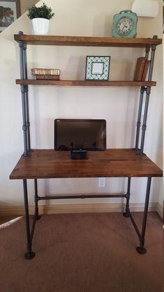 Perfect lowes diy corner desk only in home like art design Pipe Furniture, Retro Furniture, Furniture Making, Furniture Stores, Furniture Ideas, Furniture Buyers, Furniture Dolly, Desk Ideas, Wood Ideas