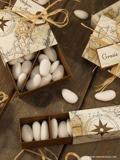 VANY DESIGN - Design esclusivo & progetti fai da te per eventi speciali: [MATRIMONIO FAI DA TE] Set di 5 Scatoline segnaposto/degustazione confetti - Progetto #56