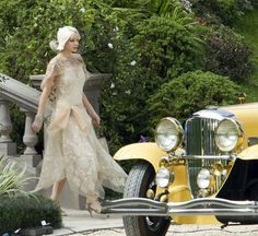 The Great Gatsby: Carey Mulligan as Daisy Buchanan on set behind the scenes. Great Gatsby Outfits, The Great Gatsby Movie, Great Gatsby Fashion, Great Gatsby Party, Daisy Great Gatsby, Carey Mulligan, Style Vintage, Vintage Glamour, Vintage Yellow