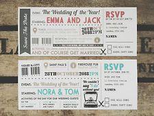 Ticket Wedding Invitations Handmade Rustic Cinema Personalised + Free Envelopes