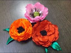▶ D.I.Y. Satin Ribbon Poppy Flowers - Tutorial - YouTube