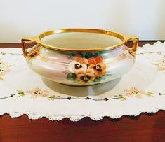 Gorgeous Antique EPIAG Art Deco Hand Painted Pansies Bowl with Gold Trims; Vintage Shops, Vintage Antiques, Art Deco Pattern, Vintage Planters, Art Deco Design, Pansies, Oval Shape, Hand Coloring, Vintage Decor