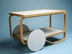 Alvar Aalto Tea trolley serving cart was designed to roll about easily proving movement can enhance function.