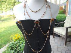 #6 - Amber Leaf Bodice Jewelry with Necklace by Renaissance Spirit Jewelry