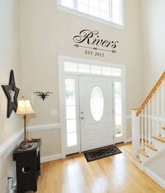 "Personalized Family Last Name Vinyl Wall Decal with Date Established Entry Way Foyer Living Room 18""H x 36"" W FS320"