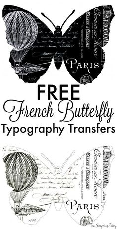 Fabulous French Butterfly Typography Transfers! - This is a great free Vintage printable to use in Crafts and  DIY Home Decor projects! The Graphics Fairy