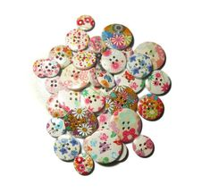 mix wooden buttons Sewing buttons Flower buttons Colorful buttons Round buttons Floral Decorative buttons Craft supplies by Neda Button Flowers, Button Crafts, Sewing A Button, Painting Patterns, Wood Colors, Etsy Jewelry, Etsy Handmade, Gifts For Him, Craft Supplies