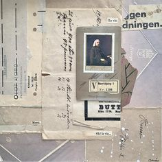 Paper Collage with vintage papers and postage stamp by Carin Andersson