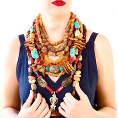 Gorgeous combination of necklaces Ethnic Fashion, Necklaces, Handmade, Jewelry, Style, Swag, Hand Made, Jewlery, Jewerly