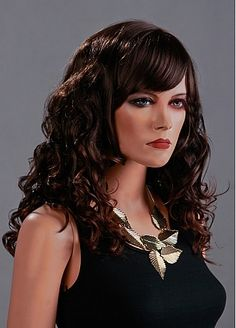 Capless Long Curly High Quality Dark Brown Synthetic Hair Wig