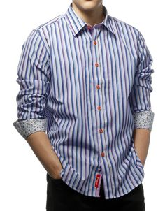 Justing Generation Blue Stripe Casual Modern Fit Mens Dress Shirt - 102J
