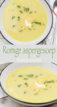 Romige aspergesoep #recept #asperges #soep #vegetarisch Dutch Recipes, Soup Recipes, Chicken Recipes, Healthy Recipes, Good Food, Yummy Food, Healthy Slow Cooker, Soups And Stews, Food Hacks