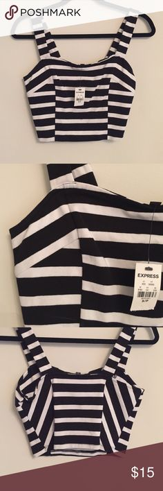 Striped black and white crop top Super cute and flattering striped crop! Never worn. Express Tops Crop Tops