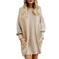 8a3a7a4ea460 Fheaven Women Solid O-Neck Pocket Long Sleeve Casual Loose Mini Sweater  Dress at Women s Clothing store
