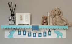 Personalized Name Shelf Baby nursery wall shelf by Authenticaa Nursery Twins, Nursery Room, Nursery Decor, Nursery Wall Shelf, Baby Room Shelves, Elephant Themed Nursery, Art Base, Unique Baby, Baby Decor