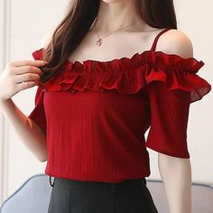 red shirt blouse Women tops and blouse ladies tops sexy slash neck women's clothes short chiffon shirt white blouse shirt, women Fancy Tops, Chiffon Shirt, Short Tops, Short Outfits, Western Wear, Look Cool, Blouse Designs, Shirt Blouses, Blouses For Women