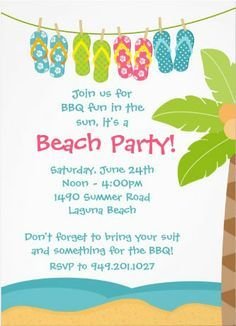 Beach birthday party invitation wording ideas httpwww party invitations join beach party invitations suit coconut tree sea water blue sands simple white stopboris Gallery
