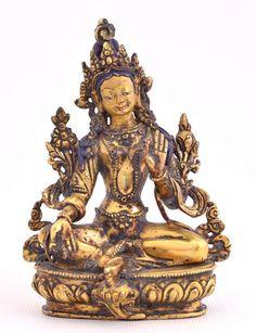 Green Tara - Beautiful small classic Buddhist statue via Etsy