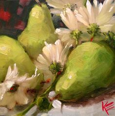 DPW Fine Art Friendly Auctions - Pears & Daisies by Krista Eaton