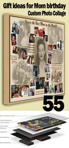 Moms 55th Birthday Memorable Photo Collage Gift Ideas For Mother Grandma Who Have