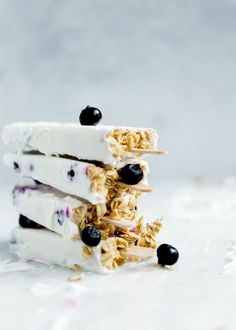 Frozen Coconut Greek Yogurt Breakfast Popsicles with berries and granola