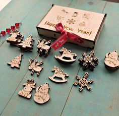 Unfinished Wood Laser Cut Ornaments with Strings BULK BUY Pack of 12 Pieces
