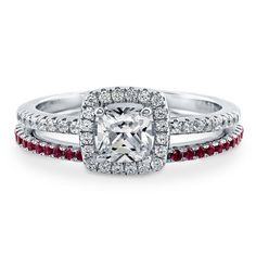 Berricle Sterling Silver Cushion Cz Halo Engagement Ring Set 1.03 Carat