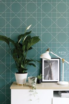 Geometric Wallpaper, Cool Wallpaper, Interior S, Interior Decorating, Hygge, Decoration, Plant Leaves, Vans, Cool Stuff