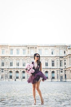 Flowers in Paris :: Tulle dress & Studded sandals